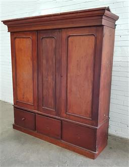 Sale 9102 - Lot 1241 - Late 19th Century Cedar Wardrobe, with three timber panel doors, enclosing a fitted interior & three drawers below (distressed)