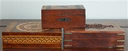 Sale 9103M - Lot 532 - A group of three carved timber containers, Largest Width 20cm