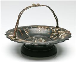 Sale 9209V - Lot 90 - A mother of pearl and lacquered basket (Dia:26cm)