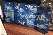 Sale 8362 - Lot 282 - A Set of Four Chinese Mother of Pearl Inlaid Dragon Panels