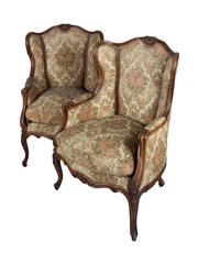 Sale 8379A - Lot 2 - A Pair of Louis XV style Marquis Chairs With sinuous and floral carving throughout and upholstered floral tapestry  H:104cm D:...
