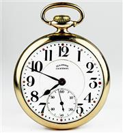 Sale 8402W - Lot 61 - ILLINOIS CENTRAL OPEN FACE POCKET WATCH; white dial Arabic numerals, subsidiary seconds on a 21 jewell double roller movement adjust...