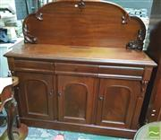 Sale 8428 - Lot 1061 - Late 19th Century Cedar Chiffonier, with carved back & above three drawers & three doors enclosing cellarette