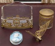 Sale 8435A - Lot 85 - A group of desk wares including a gilt and glass desk tidy with Pegasus decoration, together with a lidded glass jar with gilt decor...