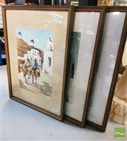 Sale 8491 - Lot 2100 - Artist Unknown (3 works) - Scenes from a Mediterranean Town 34 x 25.5cm, each (frame size)