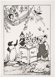 Sale 8555A - Lot 5139 - Pixie O'Harris (1903 - 1991) - Bookplate for Pat Corrigan 10.5 x 7.5cm