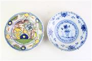 Sale 8844O - Lot 554 - Chinese Blue & White Cabinet Plate together with a Polychrome Example (some chips to rim) (Dia22cm)