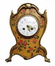 Sale 8888H - Lot 37 - Antique Garbet A Paris French Chiming Mantle Clock painted case with gilt Bronze Mounts 28 cm tall