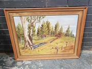 Sale 8961 - Lot 2073 - Julie Kennedy Pinecutting - Theole Park, Cowra 1971 oil on board, 72 x 95 cm (frame), signed and dated lower right