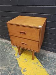 Sale 9022 - Lot 1046 - Vintage Teak 2 Drawer Bedside (h:58 x w:40 x d:31xm)