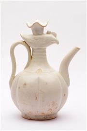Sale 9032C - Lot 726 - Finely Crackle Glazed White Avian Themed Ewer (H: 20cm) (minor loss to paintwork)