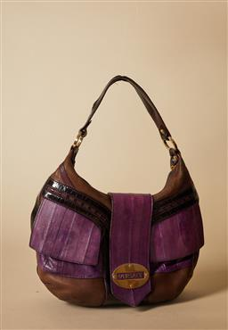 Sale 9093F - Lot 7 - A Vintage Versace leather and patent brown and purple handbag