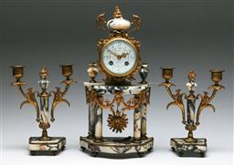 Sale 9138 - Lot 77 - French Ormolu Marble Clock With Garniture (H:38cm and 23cm)