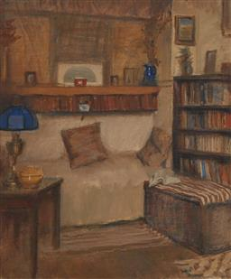 Sale 9161 - Lot 516 - BESSIE GIBSON (1868 - 1961) Artists Studio oil on canvas on board 62.5 x 52 cm (frame: 82 x 72 x 5 cm) signed indistinctly lower ri...