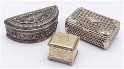 Sale 9099 - Lot 127 - A group of three silver plated trinket boxes, Largest length 11cm