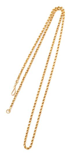 Sale 9209J - Lot 331 - AN 18CT GOLD FACETED ROPE CHAIN; 2mm wide chain to a hook clasp, length 56cm, wt. 14.92g