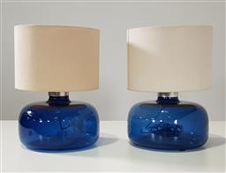 Sale 9254 - Lot 2129 - Pair of hand made glass table lamps (h:38 x d:27cm)