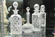 Sale 8324 - Lot 27 - Etched Crystal Decanter with Two Others
