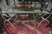 Sale 8338 - Lot 1413 - Cane Outdoor Table with Square Glass Top