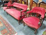 Sale 8428 - Lot 1063 - Edwardian Parlour Suite with red velvet