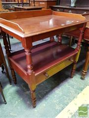Sale 8485 - Lot 1082 - Late 19th Century Cedar Servery, with low gallery back, turned supports & shelf with long drawer