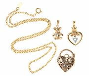 Sale 8517 - Lot 304 - A GROUP OF GOLD JEWELLERY; a 9ct pierced heart shape padlock clasp and teddy bear pendant set with 2 single cut diamonds wt 5.9g, a...
