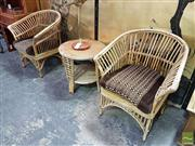 Sale 8532 - Lot 1007 - Cane Three Piece Suite incl. Table & Pair of Chairs with Cushion