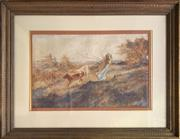Sale 8668 - Lot 2021 - O. Brock - Young Girl Herding Cattle, pastel, 35.5 x 57cm, signed lower right