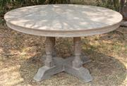 Sale 8871H - Lot 63 - A timber effect round outdoor table, height 74cm, diameter 140cm
