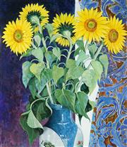 Sale 8966A - Lot 5089 - Frances Fussell (1947 - ) - Sunflowers and Chinese Vase 86 x 75 cm (frame: 115 x 102 x 2 cm)