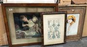 Sale 9016 - Lot 2084 - Group of Early Lithographs (3) together with an offset Botanical Print