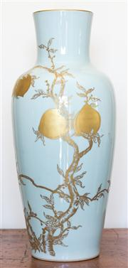 Sale 8284A - Lot 29 - A Chinese light blue ground vase, gilt peaches design, marks to base, h47.5cm