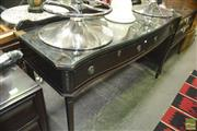Sale 8307 - Lot 1027 - Fitted 2 Drawer Serpentine Front Serving Table on Fluted Legs