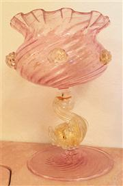 Sale 8430 - Lot 29 - A Murano pink glass and aventurine lidded bowl with a fish support, damages and repairs. Height 21cm.