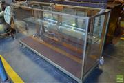 Sale 8520 - Lot 1039 - Early Chromed Shop Display Cabinet, fitted with lights & single shelf, on claw feet
