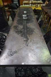 Sale 8550 - Lot 1086 - Industrial Table with Pressed Metal Top