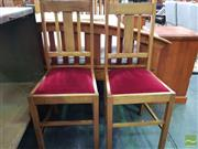 Sale 8550 - Lot 1419 - Pair of Timber Chairs with Red Velvet Upholstery Seat