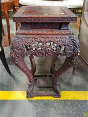 Sale 8617 - Lot 1063 - Meiji Floral Carved Pedestal, the raised square top on cabriole legs, joined by a lower tier