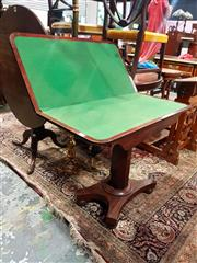 Sale 8693 - Lot 1084 - Regency Mahogany Card Table, the hinged top with green baize interior, on octagonal pedestal & quadraform base