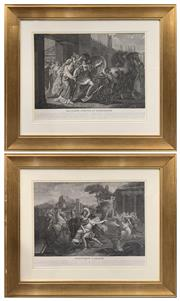 Sale 8686 - Lot 2036 - Bertrand - Pair of C19th French Engravings, depicting scenes from story of Troy, 81 x 93cm (frame size) each