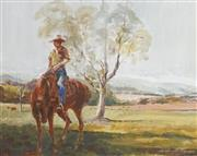 Sale 8732A - Lot 5027 - Keith Naughton (1925 - ) - Nundle Valley Stockman 40 x 50cm