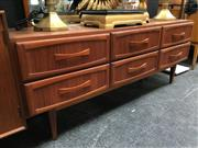 Sale 8859 - Lot 1011 - Vintage Teak Mirrored Back Dresser with 6 Drawers