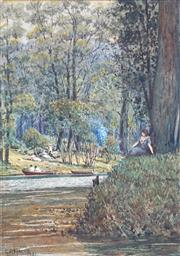 Sale 8907 - Lot 555 - George Frederick Harris (1856 - 1924) - Picnic at Kings Park, Perth 1921 32 x 23 cm