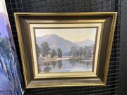 Sale 9016 - Lot 2035 - Kayebird Kayakers on the River and Mountain Viewsoil on board, 38 x 43cm (frame) signed