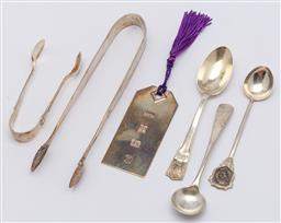 Sale 9099 - Lot 197 - A group of sterling silver seving items including sugar tongs, mustard spoon and a bookmark.