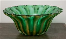 Sale 9160H - Lot 197 - A large Murano green fluted art glass bowl with aventurine inclusions, Diameter 36cm