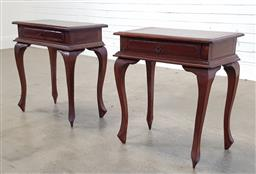 Sale 9174 - Lot 1123 - Pair of timber side tables (h:66 x w:36 x d:30cm)