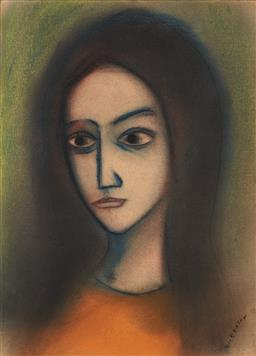 Sale 9195 - Lot 520 - ROBERT DICKERSON (1924 - 2015) - Untitled (Portrait of Young Girl) 38 x 27.5 cm