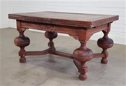 Sale 9196 - Lot 1070 - Early 20th Century French or Flemish Oak Extension Dining Table, with draw-leaves, on substantial cup-and-cover legs, joined by stre...