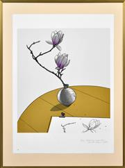 Sale 8382 - Lot 502 - David Rose (1936 - 2006) - Drawing Magnolias, 1983 59.5 x 53cm (sheet size: 79.5 x 58cm)